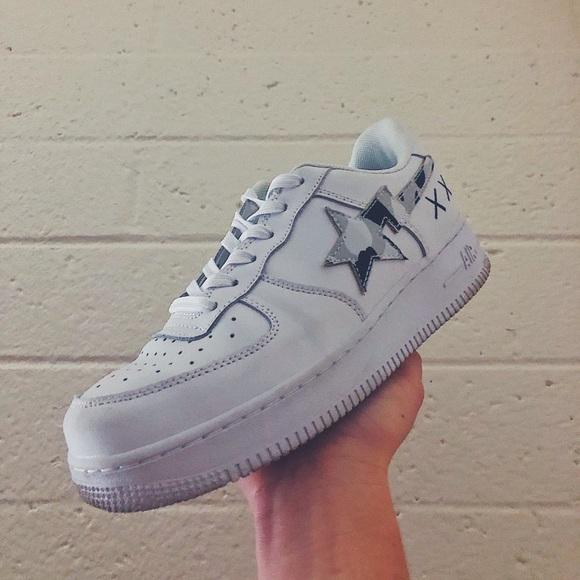 White Nike Air Force X Bape X Kaws